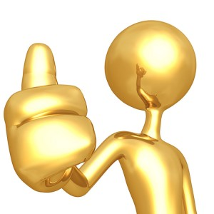 Gold man with thumb raised