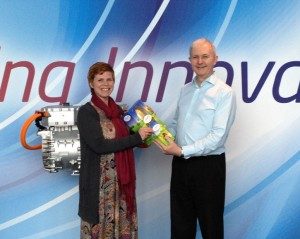 Jo Small presents egg to Barry James